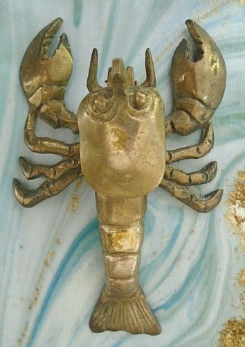 "Vintage Brass Lobster Hinged Box Figurine 6"" x 4"""