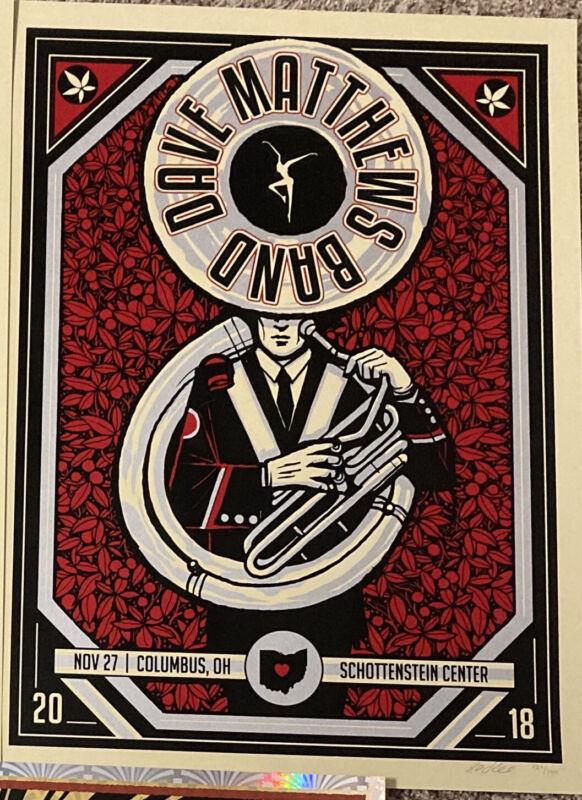 Dave Matthews Band Poster Columbus Ohio State 2018 Tuba Sousaphone Buckeyes