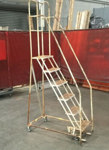 """Cotterman 6 Step Rolling Warehouse Ladder / 102""""H /18""""W / 10"""" Step Height Lot #1"""