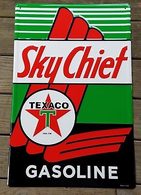SKY CHIEF GASOLINE TEXACO RED STAR GREEN T HEAVY EMBOSSED STEEL METAL ADV SIGN