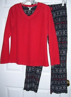 Hanes Women Pajamas M 100% Poly Knit Pull Over Long Sleeve Red/Black/White ()