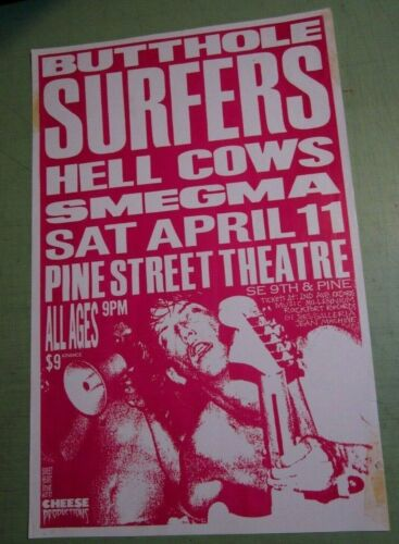 Butthole Surfers 1987 Original Concert Show Poster Portland w/ Hell Cows Smegma