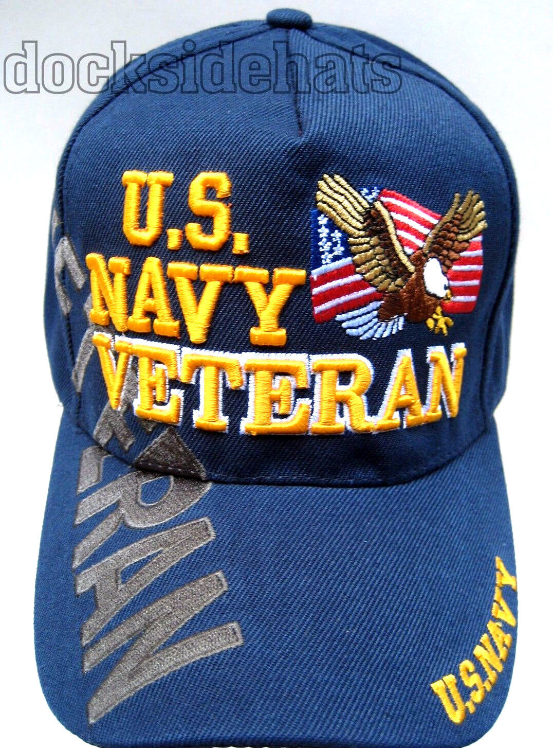 U.S NAVY VETERAN Cap/Hat W/Flag & Eagle Blue Military *Free
