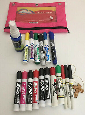 Lot Of Expo Dry Erase Marker Misc Dry Markers Pen Pencil Bag White Board Cl