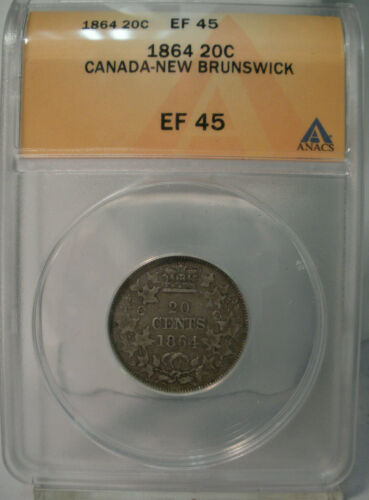 1864 CANADA NEW BRUNSWICK SILVER 20 CENTS ANACS EF45 SCARCE COIN
