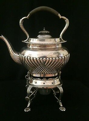 Vintage English Silver Tea Kettle with stand and burner by James Deakin & Sons