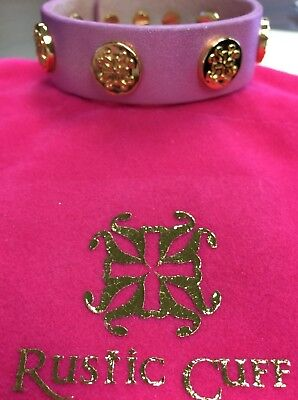 Rustic Cuff Wide MEGAN Wrap Pink Metallic Leather Bracelet with gold RC Logos