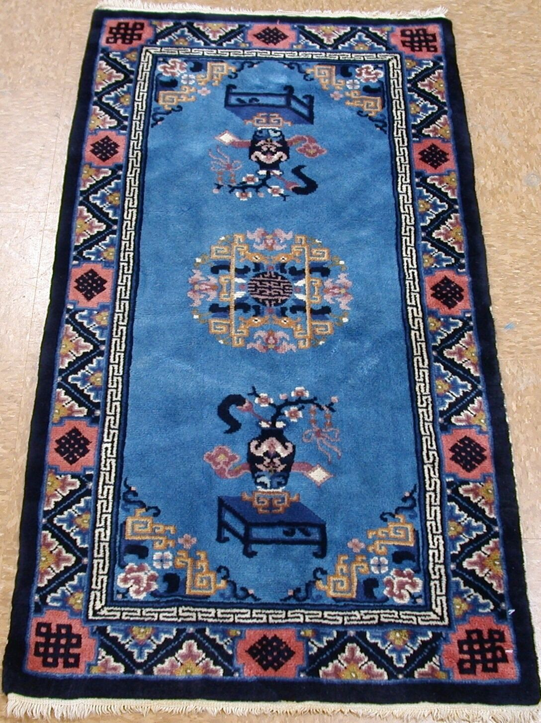 Купить ANTIQUE CHINESE Hand Knotted Wool BLUE TERRACOTTA Oriental Rug 2 x 5