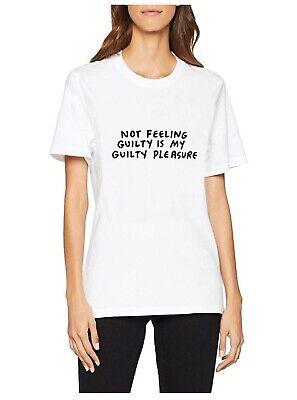 House of Holland Women's Amber M Ss Guilty Tee T-Shirt. White . Size Medium (10)
