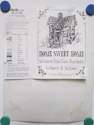 Vintage Tri Chem Picture to Paint Felt USA Poster #6868 Bucilla Home Sweet Home
