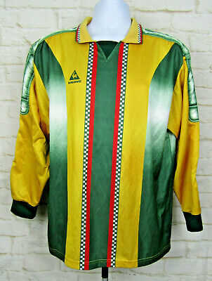 3272d655ab6 Le Coq Sportif Soccer Goalie Jersey Sz Large Yellow Green Striped Padded  Futbol