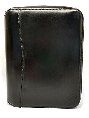 Compact Black Leather Franklin Covey Zip Planner Binder Organizer 7 Rings 9x7