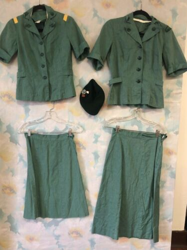 Lot of Small Vintage 1940s sage green official Girl Scout Uniforms and Hat