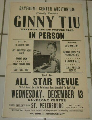 GINNY TIU ORIGINAL 1960s CONCERT POSTER BAYFRONT CENTER ST. PETERSURG, FL ELVIS