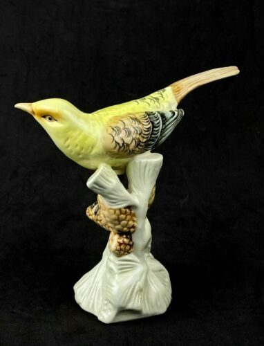 "Royal Dux Bohemian Porcelain Yellow Warbler Bird Figurine 6"" Tall"