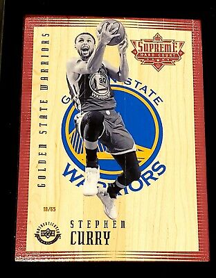 2016-17 UD Supreme Hard Court STEPHEN CURRY #'d 18/65 game-used relic WARRIORS