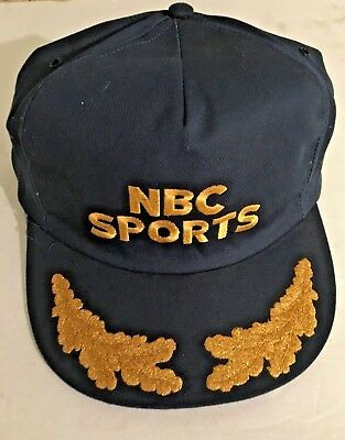 1950s Mens Hats | 50s Vintage Men's Hats NBC SPORTS VTG. CAP HAT Adjustable USA One Size FITS ALL Blue/Gold 1950's-1960's $50.00 AT vintagedancer.com