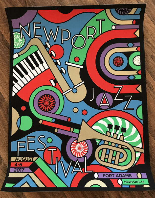 NEWPORT JAZZ FESTIVAL 2017 SCREEN PRINT POSTER LITHOGRAPH SIGNED A/E