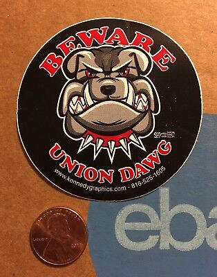 Beware Union Dawg Dog Bulldog Organized Labor Hard Hat Sticker Decal Funny