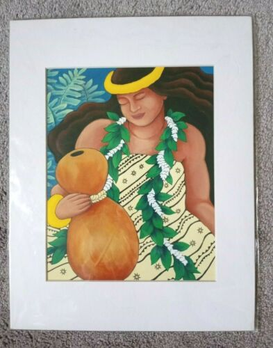 Olapa Hula Dancer Shannon Weaver Art Print Hawaii Matted Woman With Gourd Drum