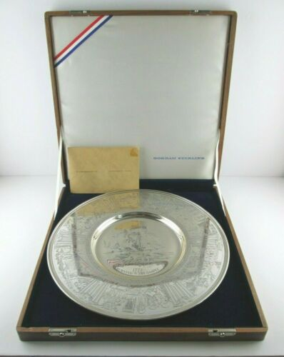 GORHAM Sterling Silver Bicentennial Commemorative 1972 Plate w/ Box