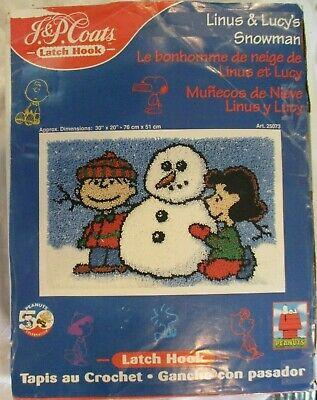 Vintage JP Coats Latch Hook Rug Kit Christmas LINUS & LUCY'S SNOWMAN Peanuts NOS ()