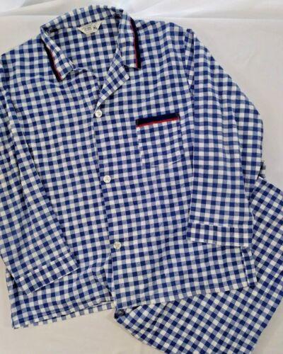 Vintage JCPenney Mens Blue CHECK PAJAMA SET XL Shirt & Pants 1960s