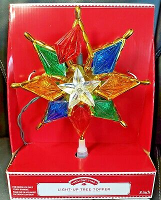 Holiday Time Light Up Christmas 8 Point Star Tree Topper 8 inch Multi Color