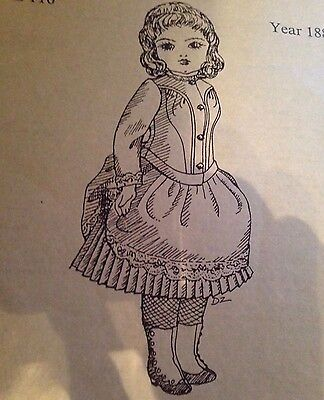"11""ANTIQUE FRENCH BEBE BLEUETTE GERMAN DOLL WARDROBE DRESS UNDERWEAR PATTERN"