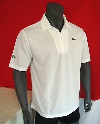 Lacoste SPORT White Zip Neck Men's Polo Shirt NWT Sizes L, XL, 2XL