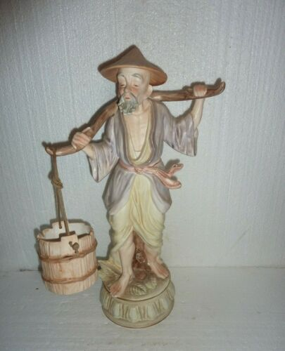 "Vintage Large Ceramic Porcelain 20"" Asian Man Carrying Water Buckets Statue"