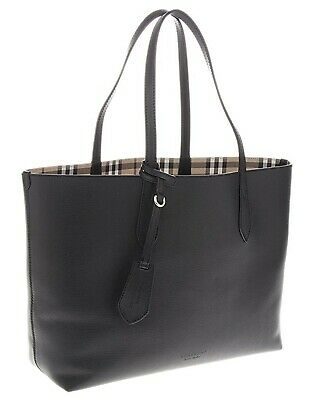 Authentic Burberry Reversible Tote Haymarket Check Leather Handbag