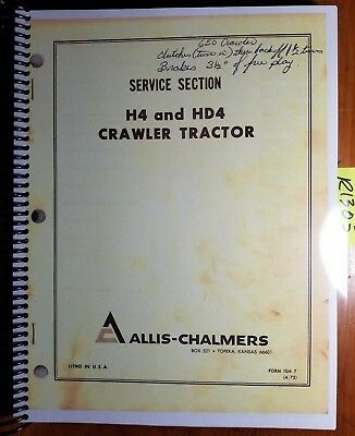 Allis-chalmers H4 Hd4 Crawler Tractor Service Manual Ism7 473