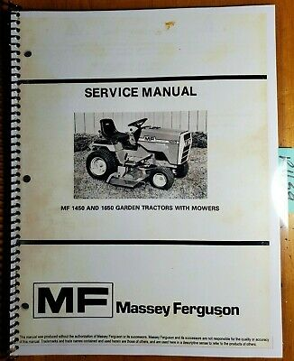 Massey Ferguson Mf1450 Mf1650 Garden Tractor With Mower Service Manual 978 Rts