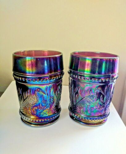 (2) GORGEOUS WRIGHT STORKS AND RUSHES CARNIVAL GLASS TUMBLERS  AMETHYST