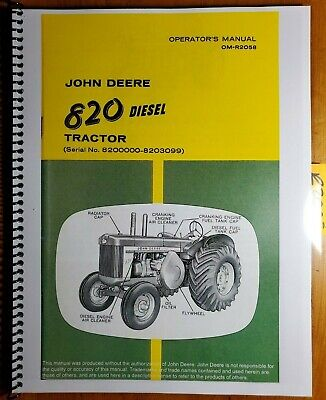 John Deere 820 Diesel Tractor Sn 8200000-8203099 Owner Operator Manual Om-r2058