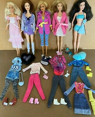 Mattel Barbie Bundle Of 5 Dolls with spare clothes & accessories