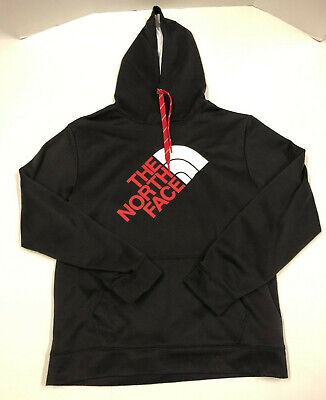 Vintage Mens The North Face Black Red Fleece Lined Hooded Hoodie Large