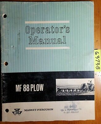 Massey Ferguson Mf 88 Semi-mounted Plow Owner Operator Manual 690 675 M2 1166