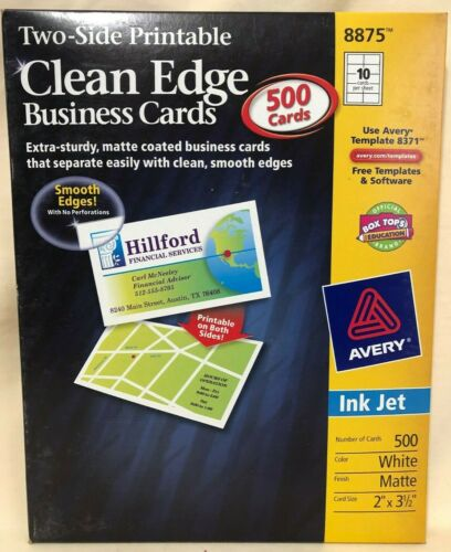 Avery 8875 Clean Edge 500 Count Business Cards - Inkjet Matte White 2 x 3 1/2