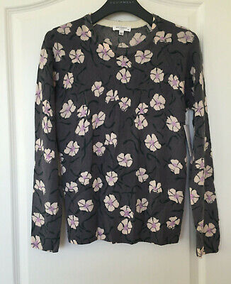 NWT EQUIPMENT 'Sloane' Floral Print Crewneck Cashmere Sweater, Grey / Multi, S