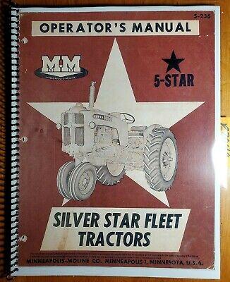 Minneapolis-moline Silver Star 5 Star Gasoline Lp Tractor Owner Operator Manual