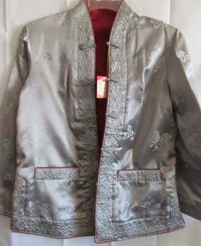 Traditional Asian Satin Jacket Reversible Red Silver Long Sleeves Floral M NWT
