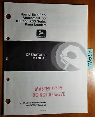 John Deere Round Bale Fork Attachment For 100 200 Farm Loader Operators Manual