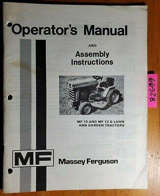 Massey Ferguson Mf 10 Mf 12 G Lawn Garden Tractor Owner Operator Manual 674