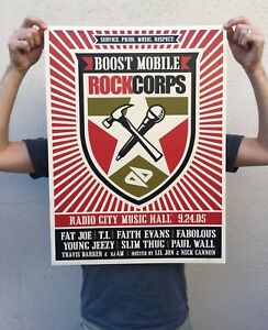2005 Shepard Fairey Signed Limited Art Print Boost Mobile Concert Poster NY City