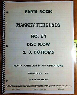 Massey Ferguson No. 64 Disc Plow 2 3 Bottom Parts Book Manual 650 982 M93 671