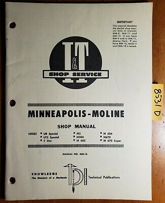 It Minneapolis-moline Ub Uts 5 Star M5 M504 M602 M604 M670 Service Manual Mm-16