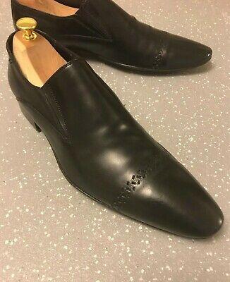 Men's Katharine Hamnett Black Leather Pointed Loafers UK 8.5  EU 42.5 US 9.5