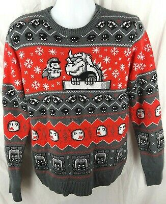 Super Mario World Xmas Men's Ugly Sweater Size Medium Bowser Thwomp Gray Red